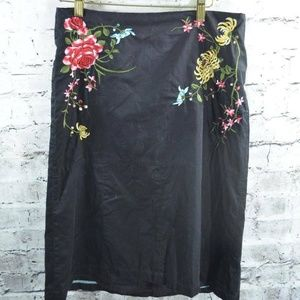 Odille Anthropologie Embroidered Floral Skirt